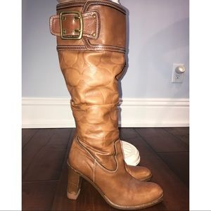 Vintage Coach Logo Leather Boots